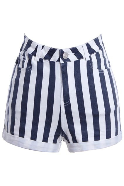 Fading Blue-white Striped Shorts