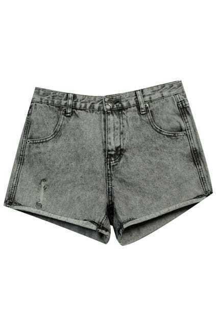 Retro Shredded Grey Denim Shorts