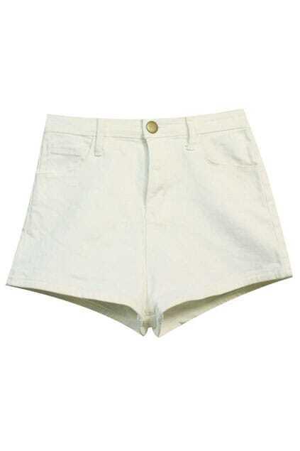 High Waist White Shorts