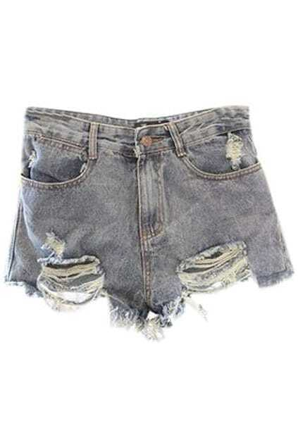 Ripped Pocketed Denim Shorts