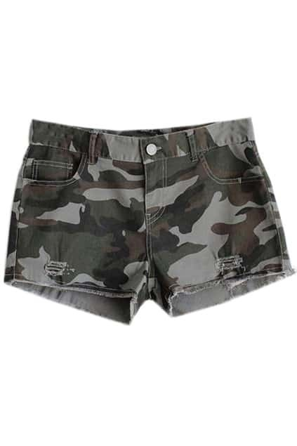 Cut-out Camouflage Shorts