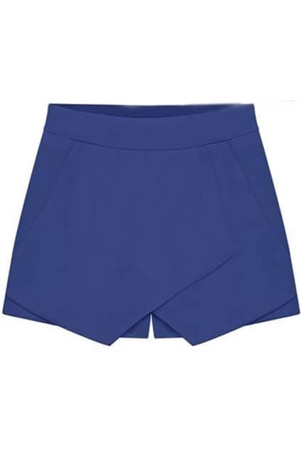 Asymmetric Split Oversize Blue Shorts