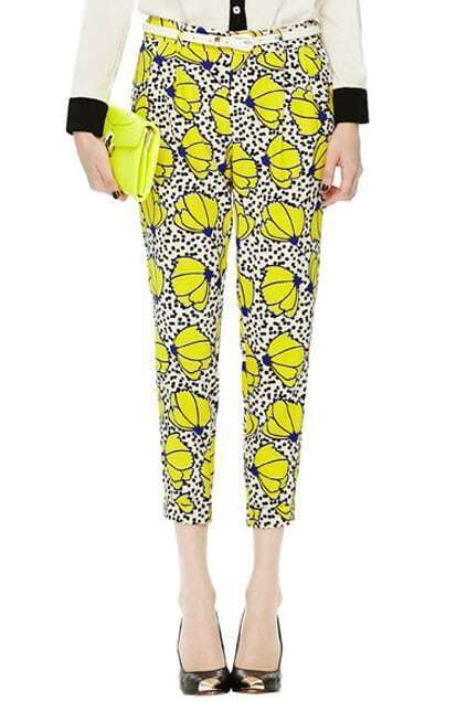Floral Print Yellow Ankle Pants