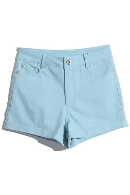 Rolled Cuffs Blue Shorts