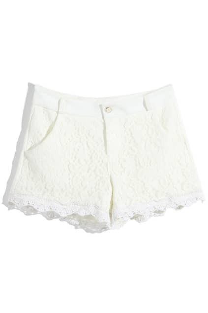 Hollow Lace Crochet White Shorts
