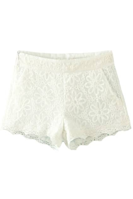 Hollowed White Lace Shorts