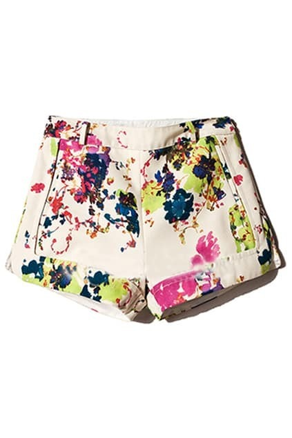 Colorful Plant Print Shorts