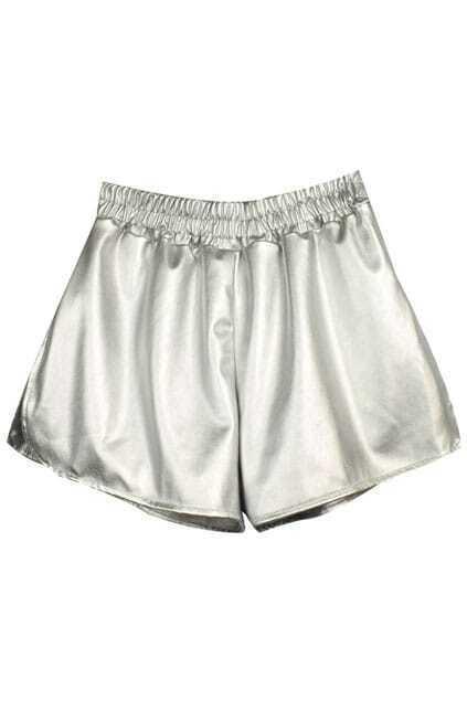 Elastic Pleated Silver Shorts