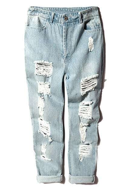 Rolled Cuffs Shredded Blue Jeans