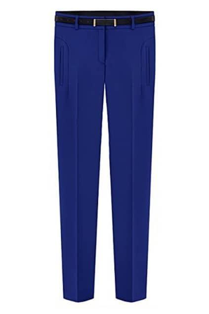 Belted Blue Slim Pants