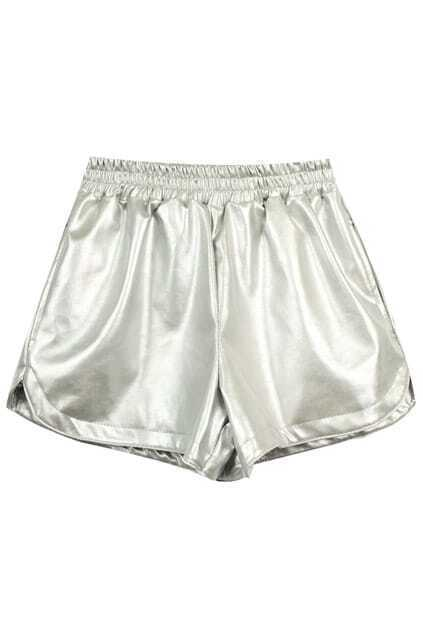 Double-layered Silver Fake Leather Shorts