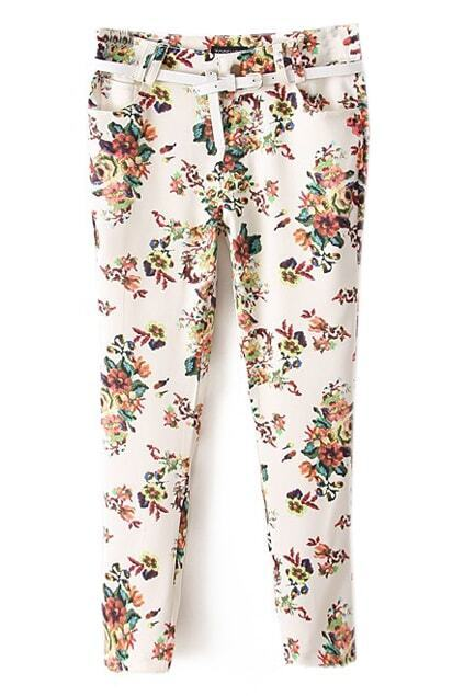 Belted Floral Print White Pants