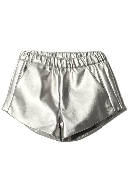Metallic Coated Silver Shorts