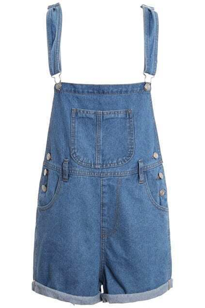 Pocketed Rolled Cuffs Blue Playsuit