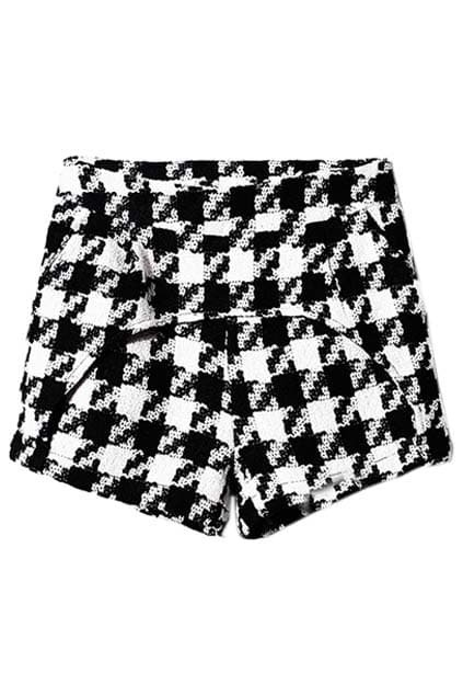 Panel Arc Piece Houndstooth Print Shorts