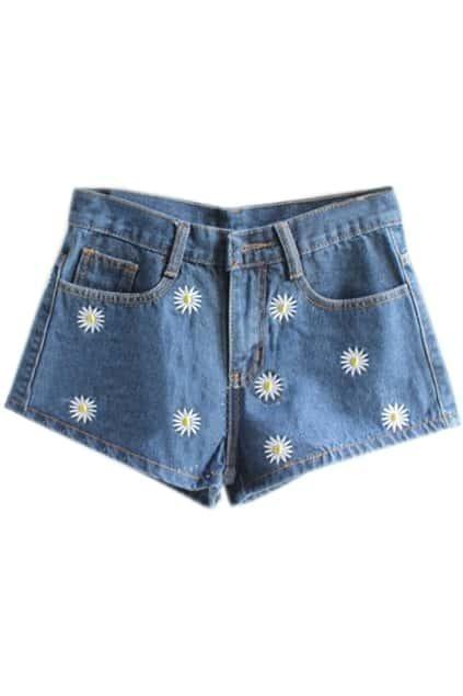 Retro Daisy Embroideried Dark-colored Shorts