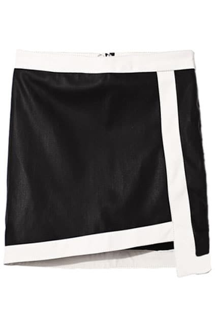 Contrast Trimming Asymmetric Black Skirt