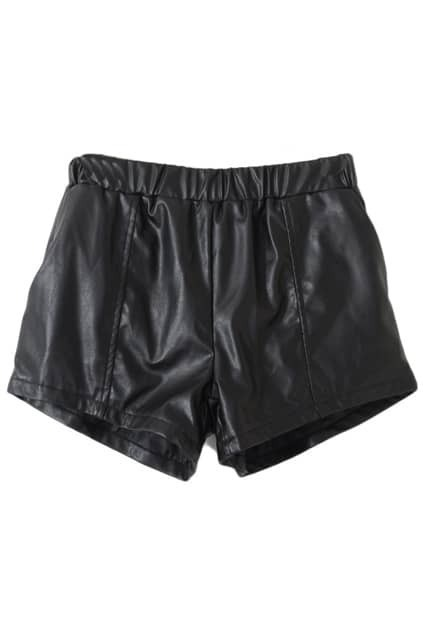 Elastic Waist Faux Leather Black Shorts