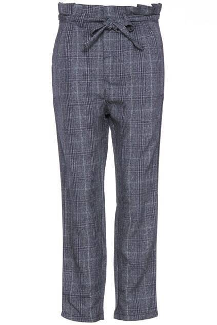 Self-tied Check Grey Pants