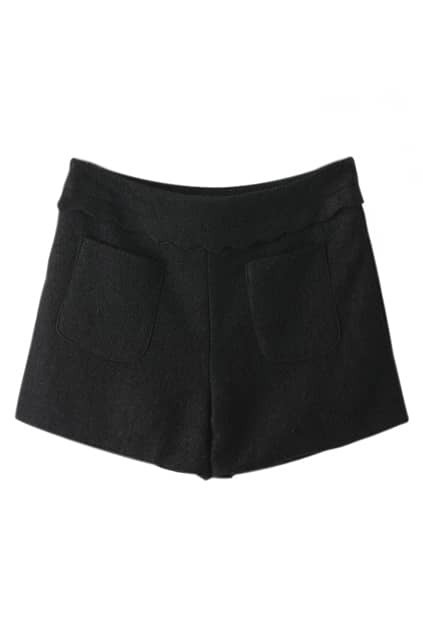 ROMWE Wave Hem Waist Black Shorts