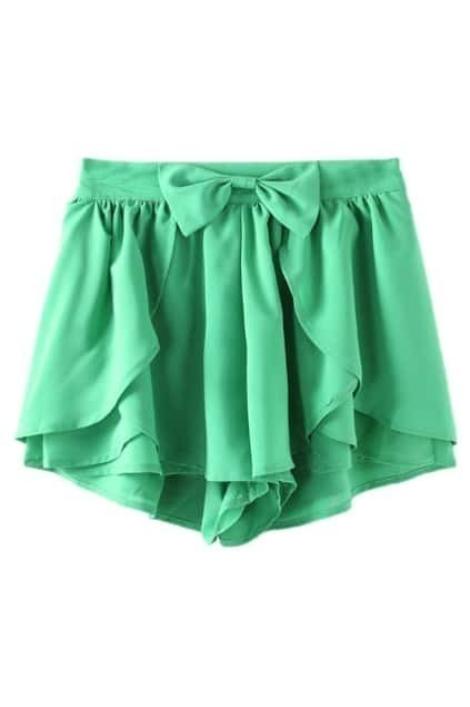ROMWE Asymmetric Bowknot Layered Flouncing Green Shorts