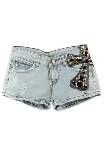 Sequined Cross Shredded Shorts