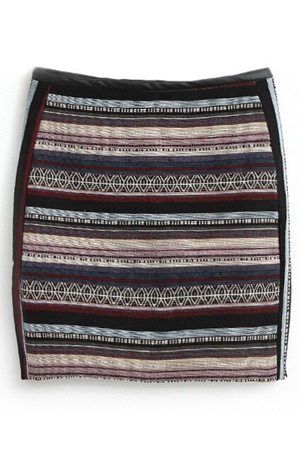 Panel Fake Leather Striped Skirt
