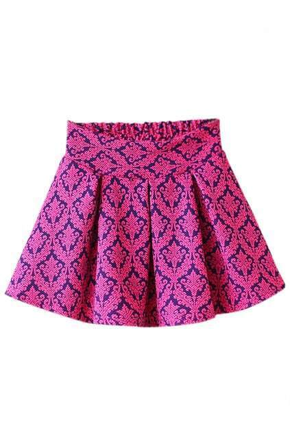Retro Floral Rose Pleated Skirt
