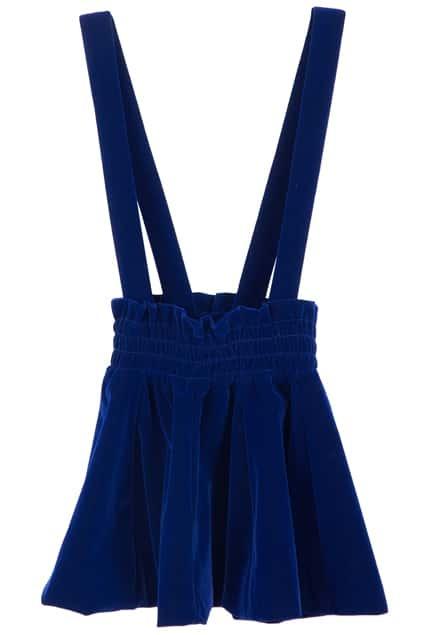 romwe blue flannel suspender skirtfor romwe