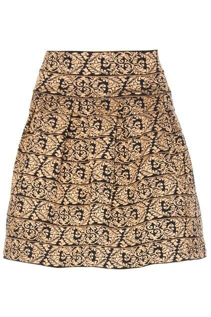 ROMWE High Elastic Rococo Embroidery Apricot Skirt