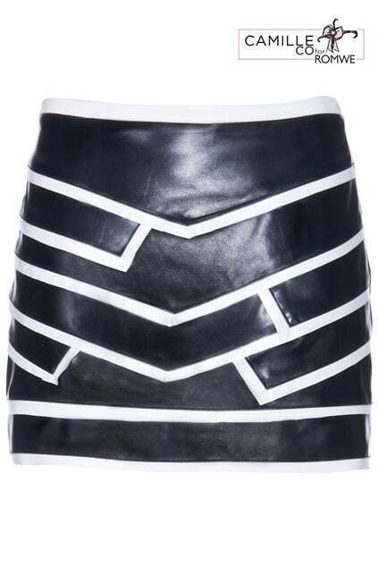ROMWE White Line Embellished Vinyl Black Skirt