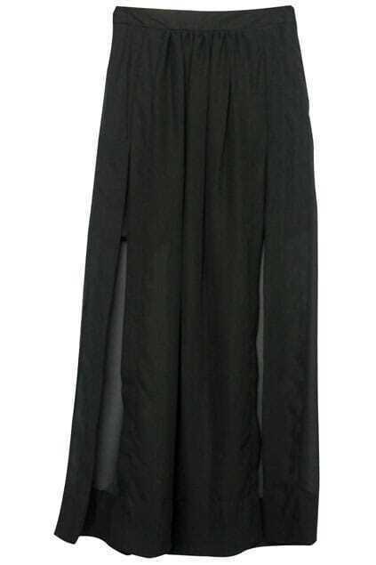 High-Splited Black Skirt