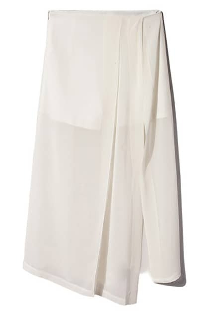 Split Hem White Skirt