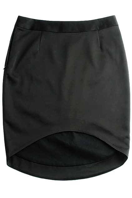 Asymmetric Hem Black Skirt