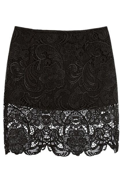 Floral Lace Hem Black Skirt