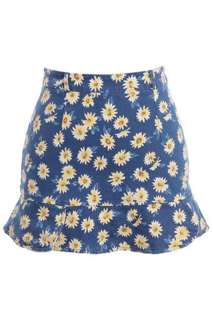 Fishtail Hem Daisy Print Bodycon Skirt