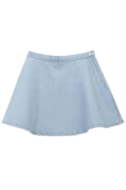 A-line Riveted Zippered Light Denim Skirt