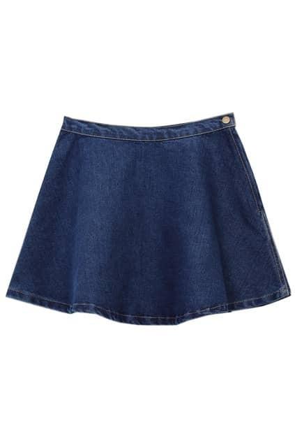 A-line Riveted Zippered Deep Denim Skirt