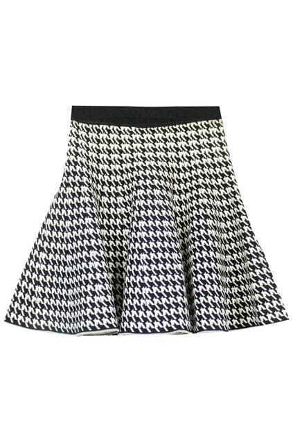 Houndstooth Knitted Black Skirt