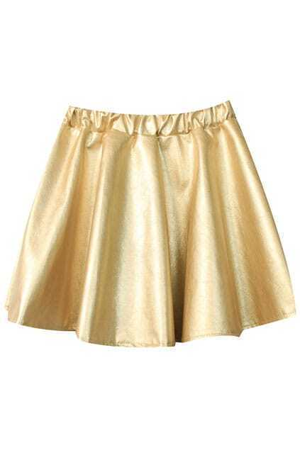 Fake Leather Puff Golden Skirt