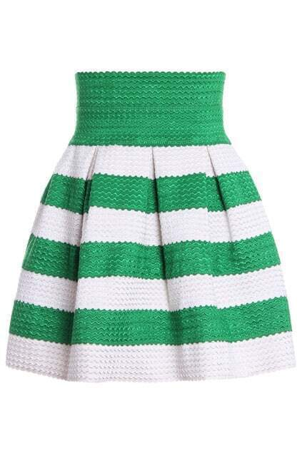 Stripe Puffed Green Skirt