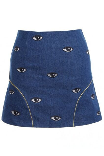 Eye Embroidered Blue Bodycon Skirt