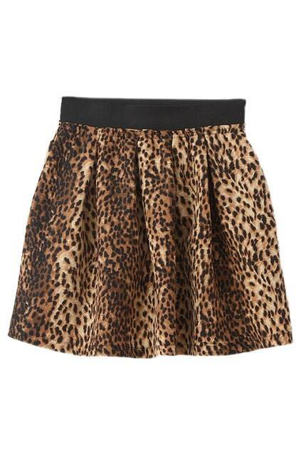 ROMWE Leopard Print Elastic Slim Skirt