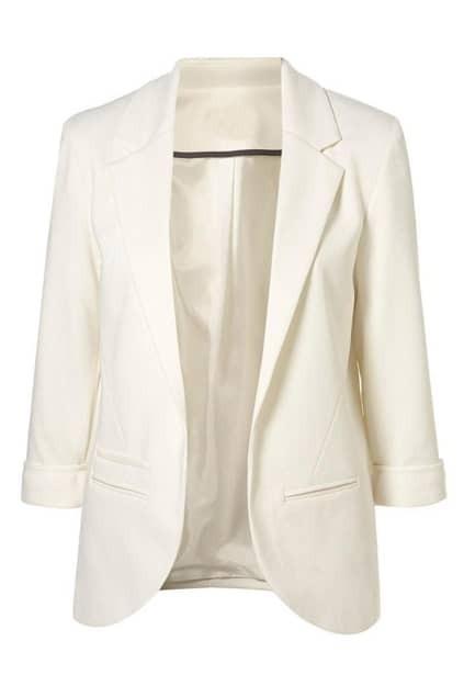 Lapel Pocketed Slim White Blazer