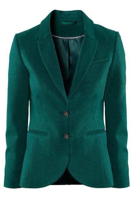 Lapel Buttoned Slim Dark-green Blazer