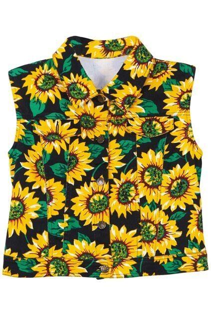 Sunflowers Print Slim Vest
