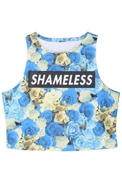 ROMWE Bluelover Print Sleeveless Vest