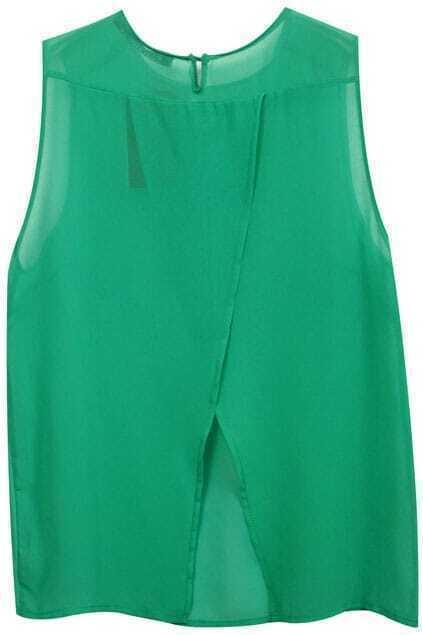 Split Hem Green Sleeveless Shirt