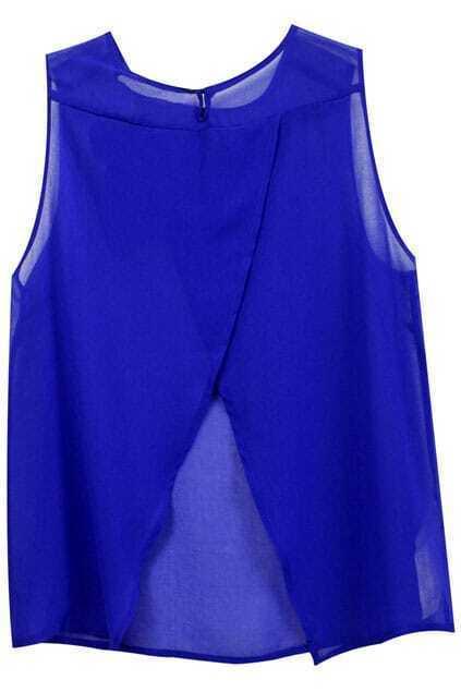Split Hem Blue Sleeveless Shirt