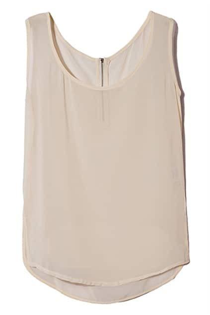 Zippered Apricot Sleeveless Shirt